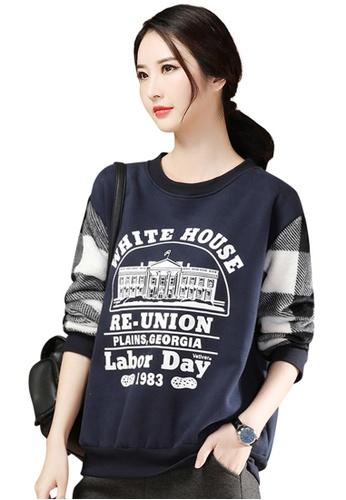 A-IN GIRLS navy Simple Print Plus Velvet Sweatshirt 5D58DAA6A21636GS_1