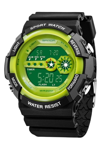 SANDA green SANDA 320 Outdoor Sports Waterproof Multifunctional Noctilucent Digital Watch (Green) SA708AC0RXBMMY_1