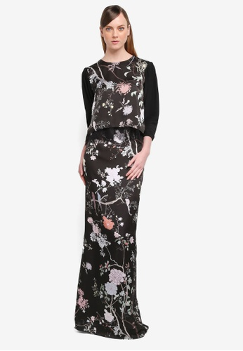 YADOTSA for ZALORA black Freya Printed Crop Kurung YA729AA0STH4MY_1