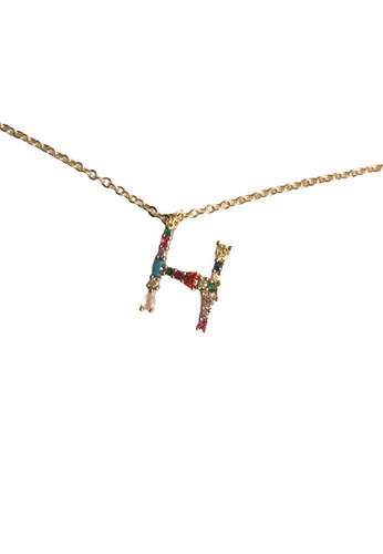CINDERTOELLA gold Cindertoella Initial Alphabet Letter H Zircon Stone Pendant 18K Gold Plated Necklace 90688ACB52F5C1GS_1