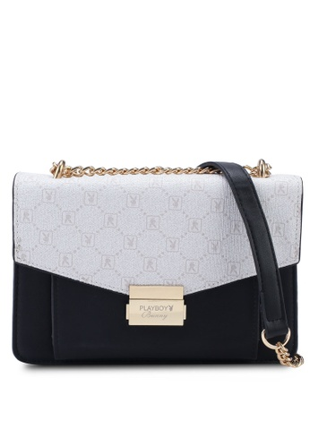 PLAYBOY BUNNY white Chain Sling Bag 52EF2AC68AEB3AGS_1