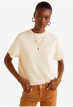 d74a2a0b64595 MANGO beige Cotton Towel Texture T-Shirt 1F309AA97FD067GS 1
