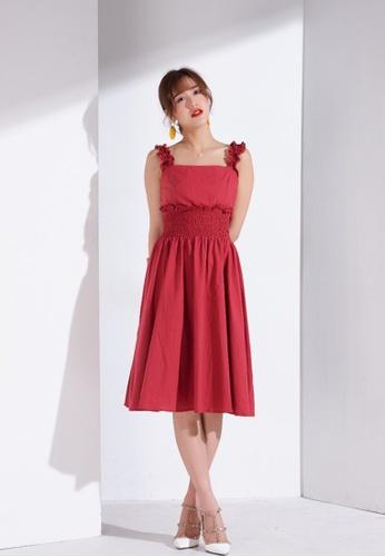 Zafiti red Square Neckline Elasticised Waistband and Strap Fastening Dress B7E6CAAA2E5C48GS_1