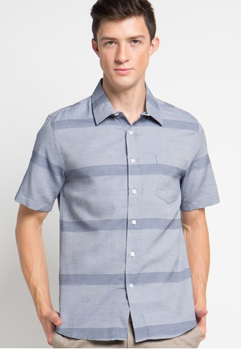 Contempo blue Mens Shirt S/S CO339AA89BMSID_1