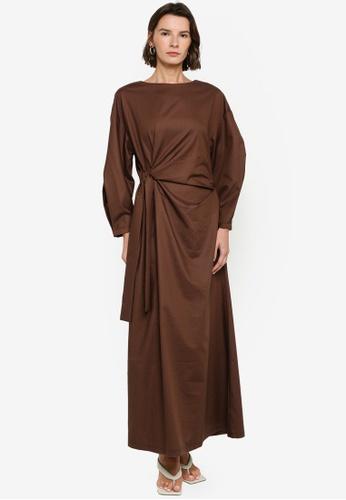 ZALIA BASICS brown Side Tie Knot Dress 62B05AAA505178GS_1
