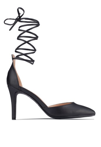 Lace Up Pointed D'Orsay Heels