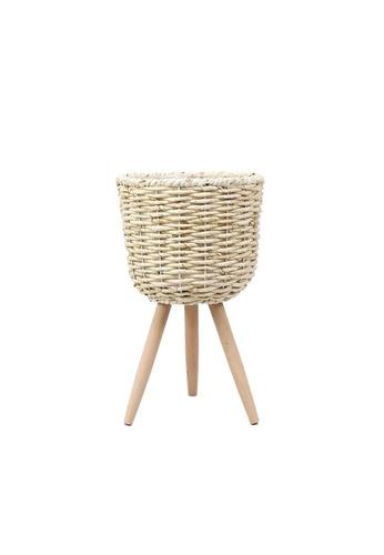 Propstation Woven Rattan Whitewash Straw Basket Stand Planter - 42cm 1D626HL4D4CA59GS_1