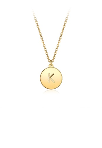 Glamorousky silver Fashion Simple Plated Gold Letter K Round Pendant with Necklace 95AEAAC7668666GS_1