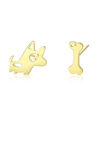 SUNRAIS gold High quality Silver S925 golden puppy earrings 2EBAEAC087F5B9GS_1