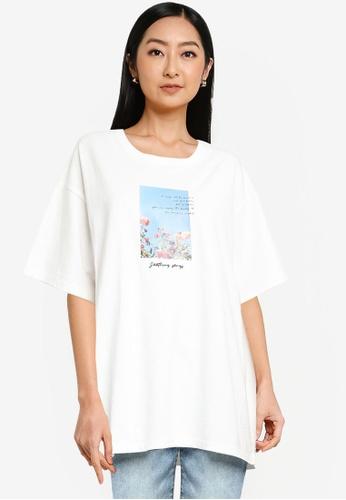 Heather white Graphic T-Shirt CDEF9AAFA3DB4CGS_1