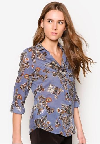 棉質花zalora 鞋評價色襯衫, 服飾, 服飾