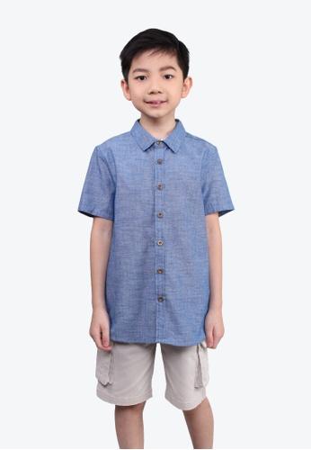 SODA blue Chambray Buttons Shirt BLUE 06E3BKA2241371GS_1