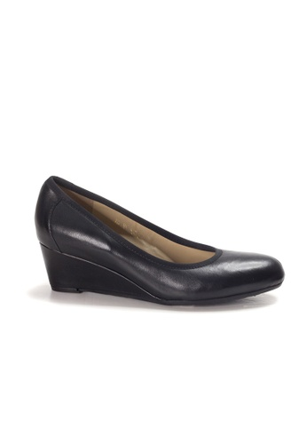 Shu Talk black LeccaLecca Leather Wedge Heels 1EA87SH435501FGS_1