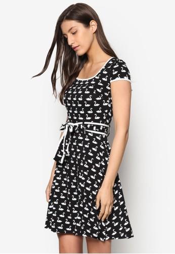 天鵝印花腰帶連身裙, 服esprit手錶專櫃飾, 洋裝