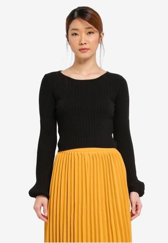Something Borrowed black Blouson Sleeve Knit Crop Top 4F8F3ZZ0BD607DGS_1