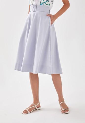 Love, Bonito blue Shanikah Belted Linen Midi Skirt 7719FAAC64B9DFGS_1