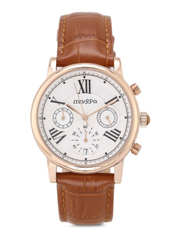 Massa Collections white Ingenious White (Light Brown) Ladies Chronograph Leather Watch 96C93ACA944F1AGS_1