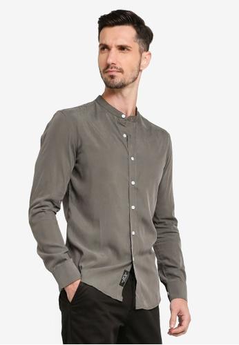 UniqTee green Collar Long Sleeve Shirt 32AF2AA6E1B6B3GS_1