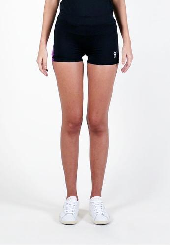 AMNIG black Women Flex Shorts (Black/Purple) 84EDFAA1E63CD5GS_1