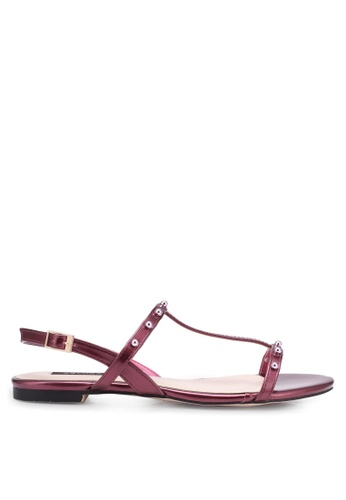 ZALORA red Pearly Strap Sandals D0164SH2C9BFB9GS_1