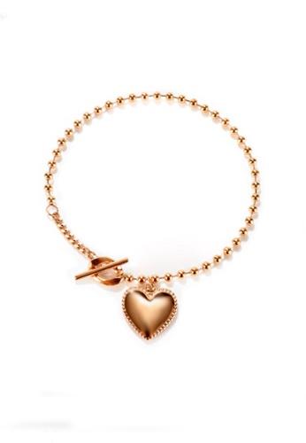 CELOVIS gold CELOVIS - Hana Heart Pendant Bead Chain Toggle Bracelet in Rose Gold 62E75AC2889AA2GS_1