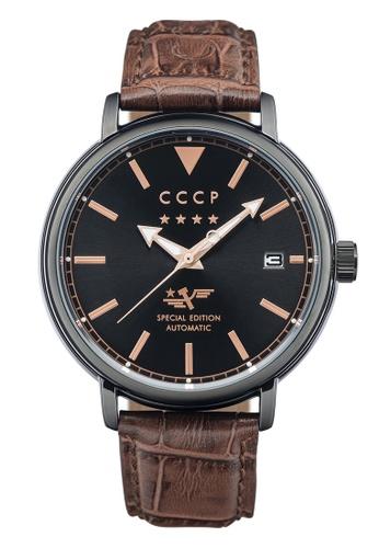 CCCP brown CCCP Men's Brown Genuine Leather Strap Watch - CP-7020-05 DE30DAC2D9C941GS_1