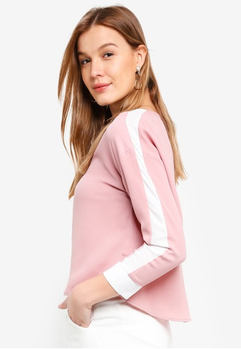 ZALORA pink Long Sleeves Color Block Top 4E0B0AAAB384CDGS_1