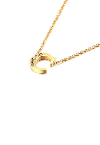 Glamorousky 白色 時尚個性鍍金色英文字母C 316L鋼吊墜配鋯石及項鏈 643D1AC7DB5D9BGS_1