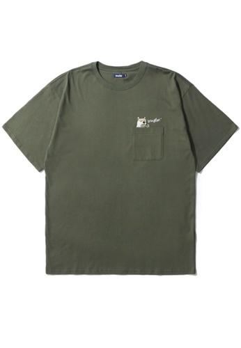 BLOCKAIT green Akita Ken pocket tee FA5E0AA0DEDB07GS_1