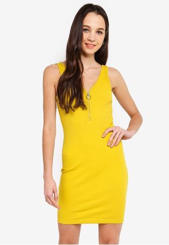 Cotton On yellow Rumi Quarter Zip Bodycon Mini Dress 242C1AAC4BD738GS_1