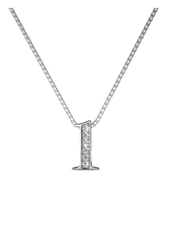 Her Jewellery silver Number Pendant (1) - Made with Premium grade crystals from Austria BE973AC0DDA5F0GS_1