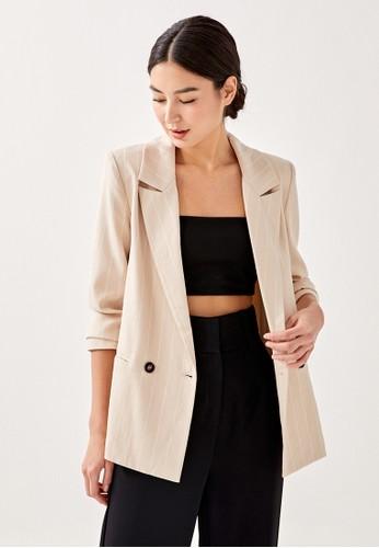 Love, Bonito beige Lyara Shoulder Padded Striped Blazer BE716AA34D9CE5GS_1