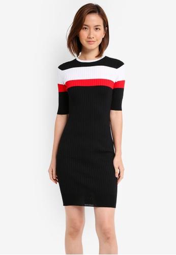 ZALORA black Striped Bodycon Rib Dress 905E3AADBB0671GS_1