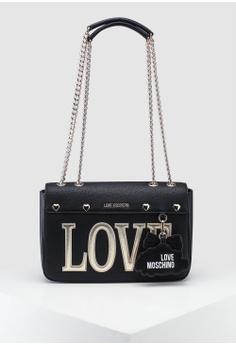 1338573cd6a2 Love Moschino black Pebble Grain Shoulder Bag 0963EAC60BE17EGS_1
