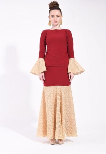 Mastani Modern Kurung In Mystic Maroon from Ann Khan Exclusive in Red