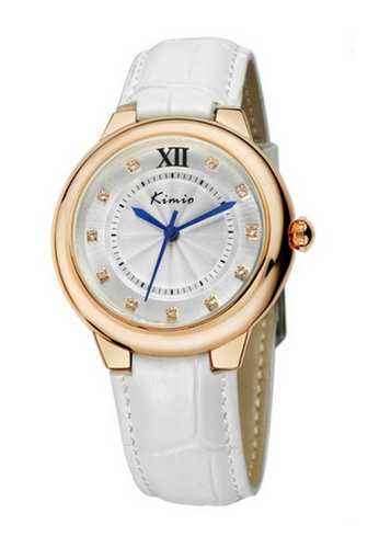 Eyki white Eyki Kimio KW526 Ladies Fashion Leather Watch (Gold White) EY078AC99RNKMY_1