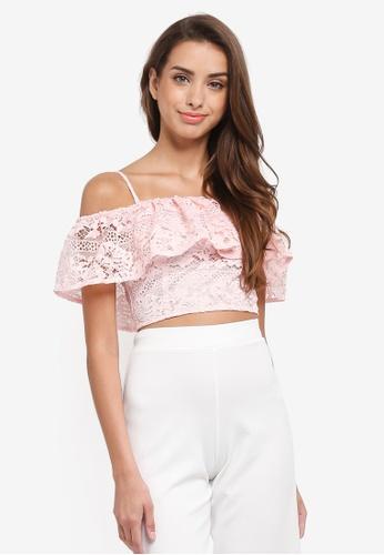 8a8b0ac1b072 Buy Miss Selfridge Lace Bardot Crop Top Online on ZALORA Singapore