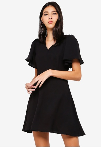 ZALORA black V-Neck Flare Sleeves Fit And Flare Dress F2F49AA37B2D0BGS_1