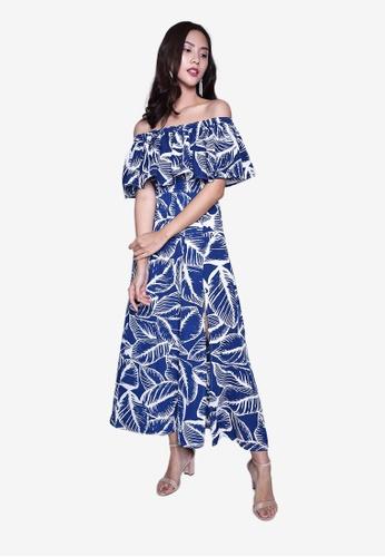 Caoros blue Off Shoulder Tropical Print Dress 46B40AAABC7092GS_1