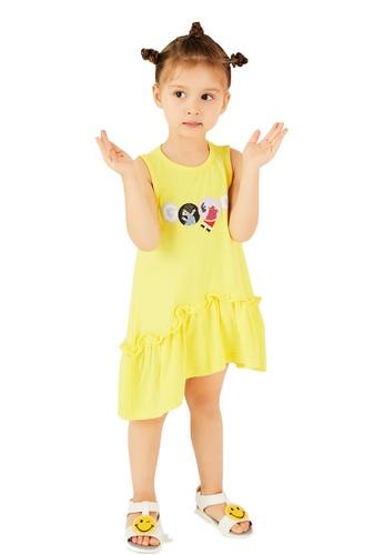 M.Latin yellow Sleeveless Graphic Printed Dress with Asymmetrical Hem 949DAKA5BBD04DGS_1