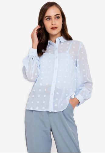 ZALORA WORK blue Textured Long Sleeve Shirt 583A3AADEF4346GS_1