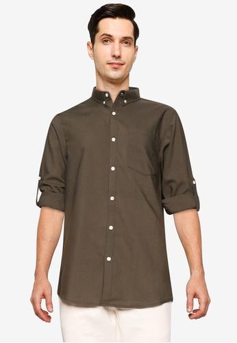 ZALORA BASICS green Long Sleeve Collar Shirt 903ABAABFA9242GS_1