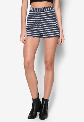 Stripe High-Waisted Shorts, 服飾zalora taiwan 時尚購物網, 休閒短褲