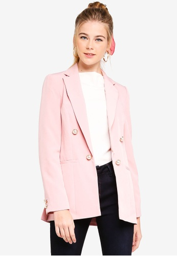 06589464be350 Miss Selfridge pink Pink Pearl Faux Double Breasted Blazer  2CD32AA8E738FBGS 1