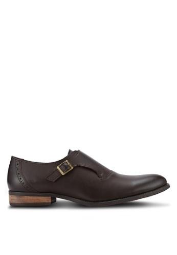 ZALORA brown Faux Leather Monk Strap Dress Shoes 0B79FAA64D9A2AGS_1