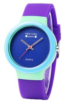 Newyork Army Mint Purple Silicon Watch