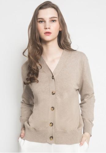 Noir Sur Blanc brown Ladies Cardigan With Button 5FB1FAAEDB4FFFGS_1
