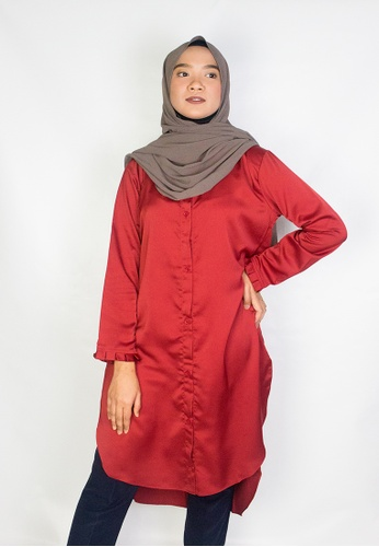 Zaryluq red Lush Button Down in Terracotta Red FFB72AAEC1BFB6GS_1
