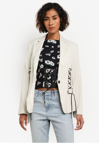 TOPSHOP white Stripe Blazer with Lace Detailing TO412AA0ROVCMY_1