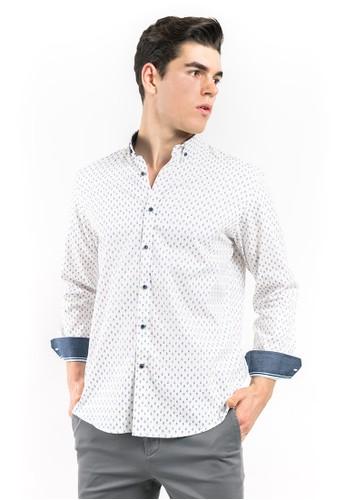 MANLY blue MANLY Kemeja Joaquinn Blue Slim Fit Pattern Long Sleeve Shirt 1526CAAC92C028GS_1